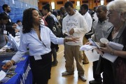 Hopeful job seekers attend a New York career fair