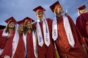 Students about to graduate at Durango High School in Durango.