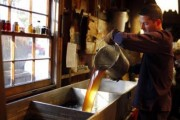 Steve Randle pours freshly made maple syrup in the finishing pan at Hollis Hills Farm in Lunenburg, Massachusetts in this February 19, 2012 file photo.  Credit: REUTERS/Brian Snyder