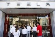 Customers Wait In Line To Reserve Tesla Motors Inc. Model 3 Ahead Of Store Openings