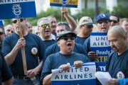 Airline Workers Protest Outside United Shareholders' Meeting