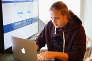Janine Weber of the New York Riveters of the National Womens Hockey League handles her emails.