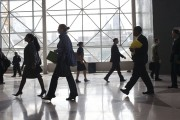 Students enter the 2012 Big Apple Job and Internship Fair at the Javits Center in New York, April 27, 2012. The job fair was organized specifically for students from the various City University of New