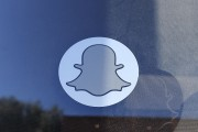 Logo of Snapchat as seen at the front entrance of its new headquarters in Venice, California