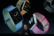Apple CEO Tim Cook speaks about the Apple Watch at a special event at the company's headquarters