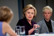 Democratic Presidential Candidate Hillary Clinton Attends Roundtable On Pay Equality In New York