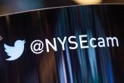 The Twitter logo is seen on the floor of the New York Stock Exchange