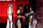 Kylie Jenner and Nicki Minaj onstage during the 2015 American Music Awards at Microsoft Theater