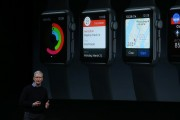 Apple CEO Tim Cook speaks during an Apple special event