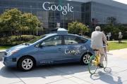 A Google self-driving car at the Google headquarters