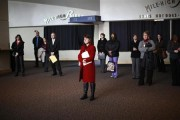 Job seekers listen to a presentation at the Colorado Hospital Association health care career fair in Denver April 9, 2013.