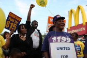 Workers In Miami Demonstrate For Higher Wages