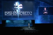 Creative Director, Arkane Studios, Harvey Smith speaks onstage as Bethesda Softworks shows off new video game experiences at its E3 Showcase.