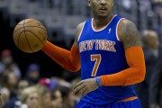 Carmelo Anthony dribbling down the court