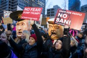 People protest against Trump's executive order.